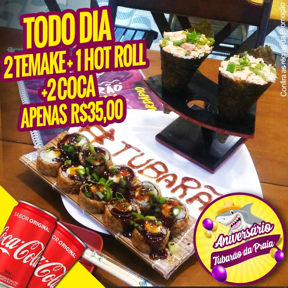 Combo 03 - 2 temaki + 1 hot roll + 2 Cocas de 220m